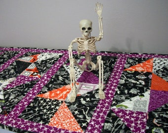 Halloween Table Runner Quilted FREE US Shipping Quiltsy Handmade Skeletons Skull and Crossbones Black Orange Purple