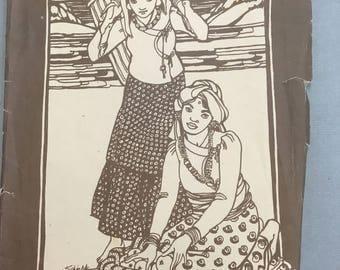 Vintage Folkwear pattern, number 111, Nepali blouse, complete and cut, 1977