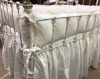 Balance for Jill-Ruffled Crib Bumpers and Gathered Crib Skirt in Vintage White Washed Linen-Tiny Ties- Classic Washed Linen Crib Bedding