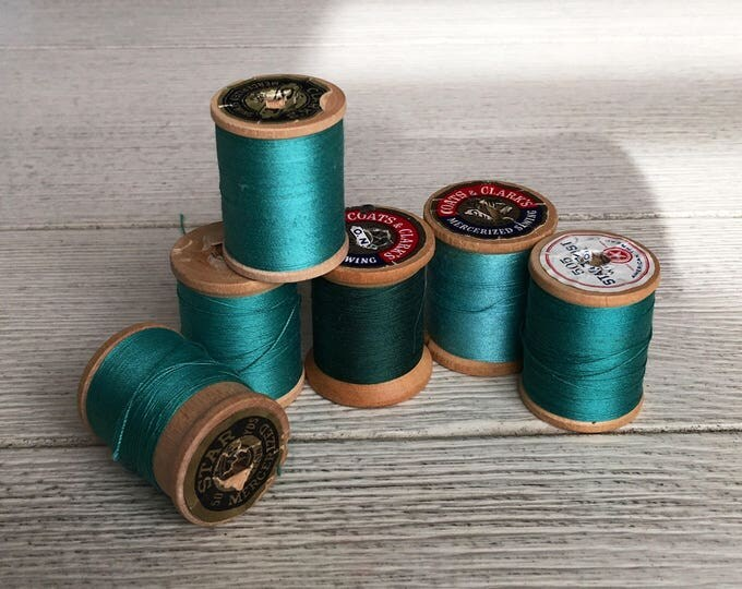 Vintage Wooden Spools Turquoise Aqua Blue Thread Lot