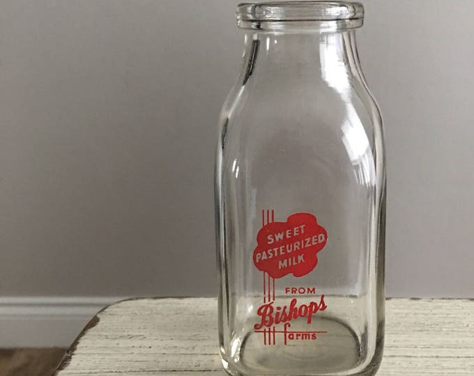 Retro Milk Bottle Vintage Red Graphics Bishops Farms