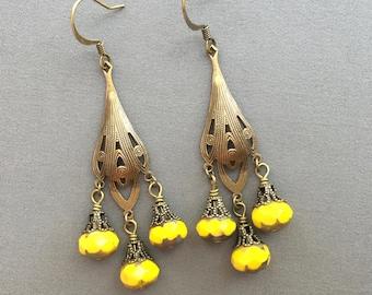 Chandelier Earrings - Bohemian Earrings - Boho Jewelry - Long Dangle Earrings - Beaded Earrings - Yellow Jewelry - Saffron Yellow Earrings