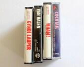 Instant Collection Set of 4 80s Cassette Tapes // Cyndi Lauper, Van Halen, Wham, Cocktail Soundtrack 1980s music lot