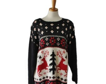 50% half off sale // Vintage 80s Nordic Reindeer Sweater - Busy Design - Women 2XL - ugly Christmas, black red