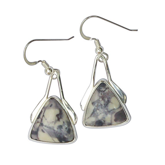 Earrings, Porcelain Jasper Dangle Earrings Set in Sterling Silver  epore2968