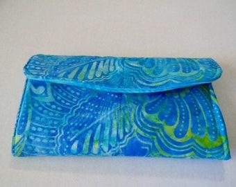 Turquoise Batik Clutch Wallet