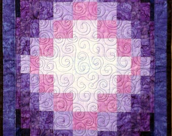Purple Quilted Batik Table Runner