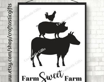 Farm Sweet Farm Printable 8 x 10 Country Printable Wall Decor Instant Download Rustic Home Decor County Home Decor