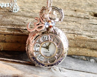 Women's Petite Sunflower Pocket Watch Necklace, Silver Ohm Yoga Charm, Faceted Czech Glass Crystal,   C 8-7