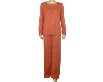 L Vintage 1970's Goldworm Knit Pantsuit Sweater, High Rise Pants Suit, Day Lily Peach,  ILGWU, Union Made in USA Large, 14