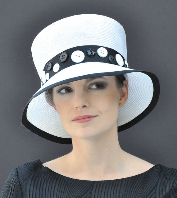 Wedding hat, Black and White Hat, Formal Hat, Church Hat, Derby hat, Occasion Hat