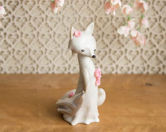 Sakura Gazing Fox - White Fox with Cherry Blossoms by Bonjour Poupette