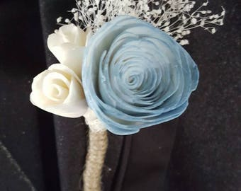 Sola rose boutonniere,  wooden rose,  wooden flower boutonniere,  sola wood flower,  prom boutonniere,  rustic boutonniere,  dried flower