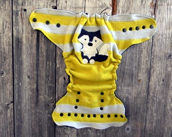 Upcycled  Merino Wool Nappy Cover Diaper Cover Wool Wrap Cloth Diaper Cover One Size Fits Most Mustard Yellow/ Gray With Wolf Applique/ Gray