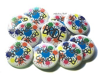"80s Bride, 1.5"", 2.25"", Pin Back Button, Splatter Paint, Bachelorette, Bachelorette Party, Bachelorette, 80s Bachelorette, Bridal"