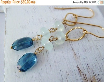 Clearance London blue Topaz and Aqua Chalcedony gold earrings. Chalcedony earrings. Dangle earrings. Topaz earrings. Ready to ship