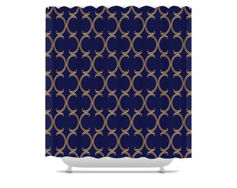 Moroccan Shower Curtain, faux gold lattice on navy blue, bathroom decor, bath curtain