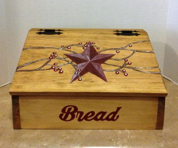 Bread Box, Wooden Bread Box, Kitchen Bread Box, Primitive Star Decor, Country Decor, Farmhouse Decor, Primitive Kitchen Decor, Box for bread