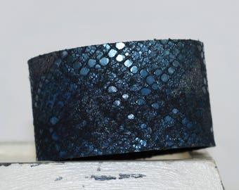 Metallic Leather Cuff Bracelet Snakeskin Print Genuine Leather Blue and Black Leather Cuff