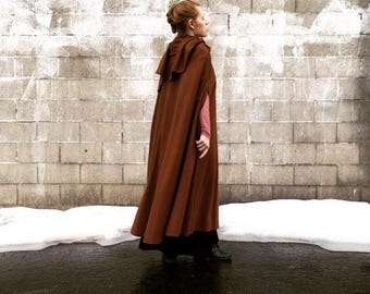 Vintage 50s 60s Mocha Brown Wool Cape