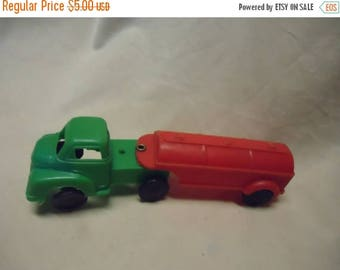 Back Open Sale Vintage Plastic Toy Gasoline Truck, Green and Red, DAMAGED, collectable