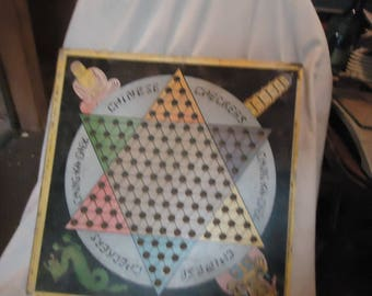 Vintage 1933 Chinese Checkers Game Board Ching-Ka-Chek G 501, collectable