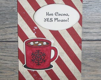 Hot Cocoa, Yes Please Distressed Red handcrafted card-CB123117-19