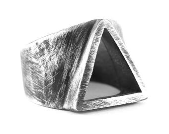 Rustic Silver Ring Mens Sterling 925 Triangle Geometric Personalize Man Rings
