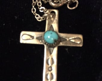 Turquoise Cross Bell Trading Post Navajo Pendant -Native American Vintage Sterling Earthy Tribal Treasure