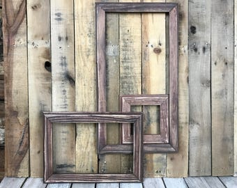ON SALE - Mahogany Stain Picture Frame Set of 3 Rustic Set, 5x5, 8x12, 10x20 Photo Frame, Gallery Frame Set, Lot 220