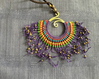 Violet wax string fan shape and tiny brass beads pendant necklace.