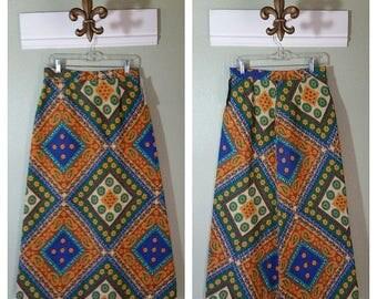 Vintage Maxi Skirt, Cotton, Boho Print, Hippie Skirt, Size Medium,  #64421