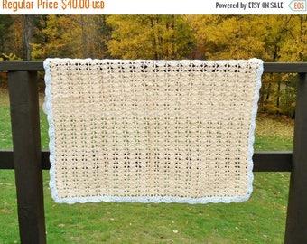 SALE Crochet Baby Blanket Afghan Throw PEACH and White Handmade Knitted Baby Boy or Girl Blanket