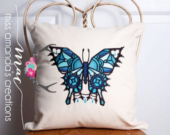 Stained Glass Butterfly Pillow COVER ONLY