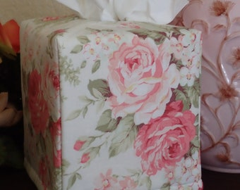 Ready To Ship -  Flower Cotton Print-  Fabric Tissue Box Cover