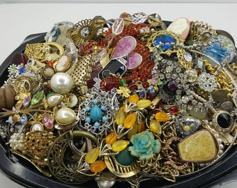 Jewellery Pieces Repair Vintage Destash  over 8 Pounds Crafting Upcycle harvest