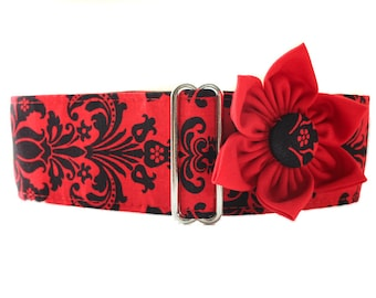 1.5 Inch Martingale Collar with Matching Collar Flower, Red and Black Martingale Collar, Damask Dog Collar, Greyhound Martingale Collar