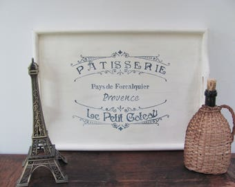 Stenciled Serving Tray, Antique White Wood Tray, French Themed Stenciled Tray