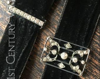 Edwardian Diamanté Choker. Black Silk Ribbon. 1900. 1910. Penny Dreadful. Gothic.