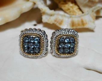 14k and Sterling Silver Blue Topaz Stud Earrings 3.94g