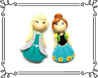 Cold Porcelain Clay Princess Anna & Elsa Figurines Set, Pendant Charm, Bow Center, Purse Charm, Ornament, Magnet, Brooch, Necklace, Jewelry