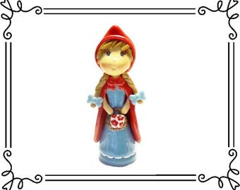 Cold Porcelain Clay Little Red Riding Hood Figurine, Little Red Riding Hood Ornament, Little Red Riding Hood Cake Topper, Keepsake, Gift