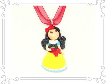 Princess Snow White Necklace - Handmade Cold Porcelain Clay Snow White Pendant Charm in a Red Organza Ribbon Necklace - Princess Necklace