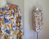 vintage 1930s shirt  - HARVESTED novelty print housecoat / L-XL