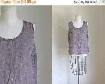 AWAY SALE 20% off vintage flax linen top - VINEYARD dusty purple boxy blouse