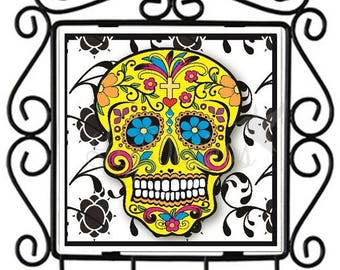 Dia de los Muertos-Sugar Skull - Ceramic Tile Metal Key Holder (SSKHL14) Ready to Ship