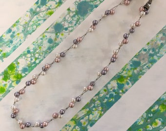 Sale - Pink and Mauve Swarovski Pearl Necklace
