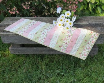 Pink Tea Party Quilted Table Runner Reversible
