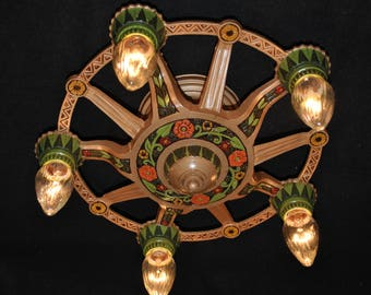 Vintage Art Deco 5 Bulb Ceiling Fixture Semi-Flushmount Restored Antique Lighting