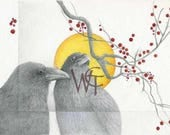 Oriental Moon, ravens, red berries, solar eclipse, sun and moon